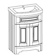 CURVED CLASSIC BASIN UNIT 600mm