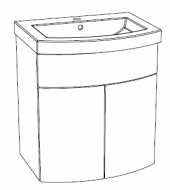 Editions Curved Basin Unit with Doors