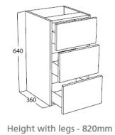 Atlanta Three Drawer Base Unit Price Band 4