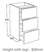 Atlanta Three Drawer Base Unit Price Band 3