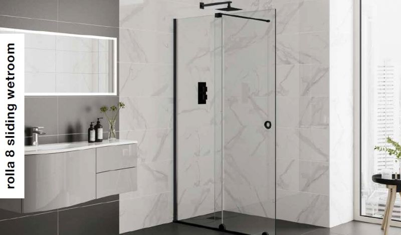 ROLLA 8 SLIDING WET ROOM MATT BLACK