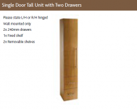 SINGLE DOOR TALL UNIT with TWO DRAWERS (Wall mounted)