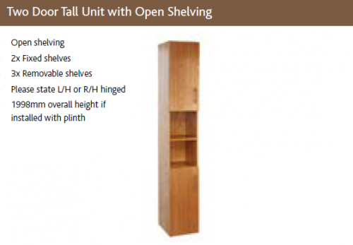 TWO DOOR TALL UNIT with OPEN SHELVING