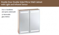 SLIM DOUBLE DOOR DOUBLE SIDED MIRROR WALL CABINET with LIGHTS, OPTIONAL SHAVER SOCKET