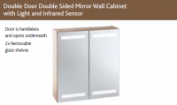 SLIM DOUBLE DOOR DOUBLE SIDED MIRROR WALL CABINET with LIGHTS & SHAVER SOCKET