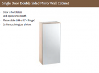 SLIM SINGLE DOOR DOUBLE SIDED MIRROR WALL CABINET