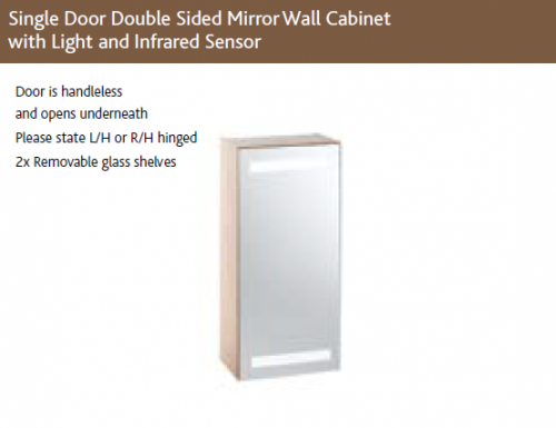SLIM SINGLE DOOR DOUBLE SIDED MIRROR WALL CABINET with LIGHTS