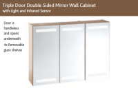 SLIM TRIPLE DOOR DOUBLE SIDED MIRROR WALL CABINET with LIGHTS & SHAVER SOCKET