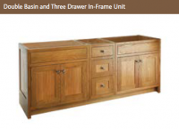DOUBLE BASIN & THREE DRAWER IN FRAME UNIT 825mm high