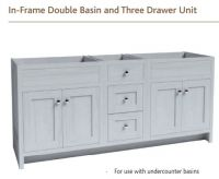 IN-FRAME DOUBLE BASIN & THREE DRAWER UNIT 825mm high VanityHall