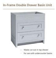 IN-FRAME DOUBLE DRAWER BASIN UNIT  825mm high Vanity Hall
