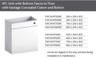 WC UNIT with BOTTOM FASCIA TO FLOOR inc CONCEALED CISTERN and BUTTON