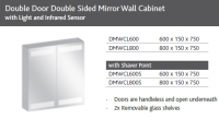 DOUBLE DOOR MIRROR WALL UNIT WITH LIGHT