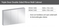 SLIM TRIPLE DOOR DOUBLE SIDED MIRROR WALL CABINET