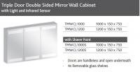 TRIPLE DOOR MIRROR WALL UNIT WITH LIGHT
