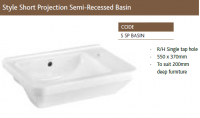 STYLE SHORT PROJECTION SEMI-RECESSED BASIN