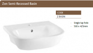 ZEN SEMI-RECESSED BASIN